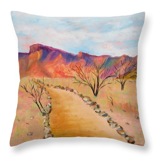 Mesquite Throw Pillow featuring the painting The Mesquite Trail Arizona by Marita McVeigh