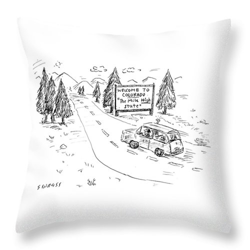 Cartoon Throw Pillow featuring the drawing The Mile High State by David Sipress