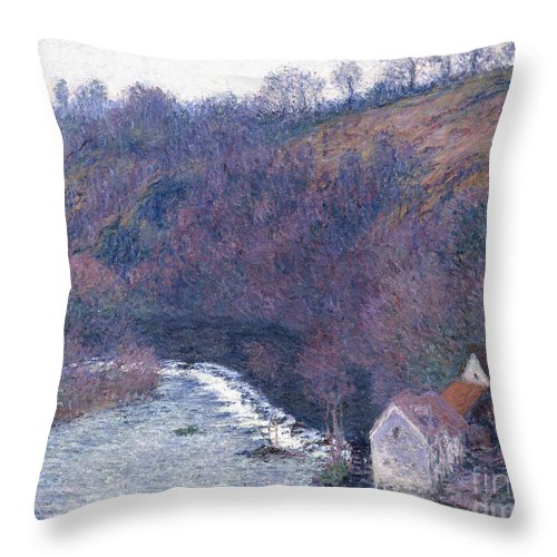 1880s Throw Pillow featuring the painting The Mill At Vervy by Claude Monet
