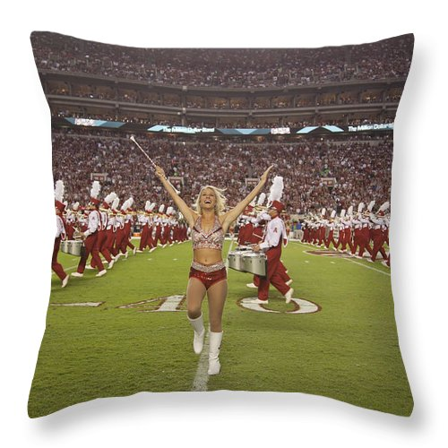 Alabama Throw Pillow featuring the photograph The Million Dollar Marching Band Of The University Of Alabama by Mountain Dreams
