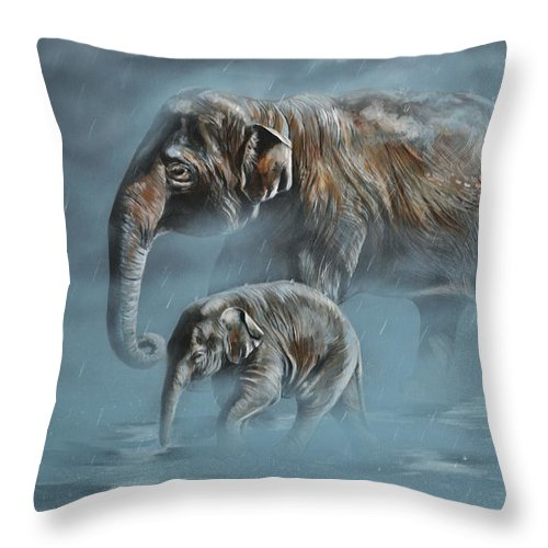Asian Elephants Throw Pillow featuring the painting The Mist by Lachri