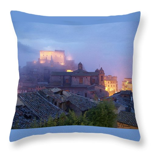 The Mists Of Soriano Throw Pillow featuring the painting The Mists Of Soriano by Ellen Henneke