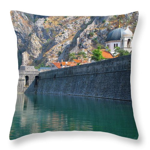 Moat Throw Pillow featuring the photograph The Moat Of Kotor by Douglas J Fisher