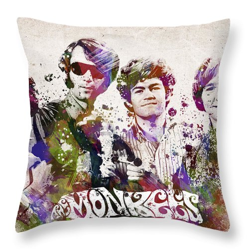 The Monkees Throw Pillow featuring the digital art The Monkees by Aged Pixel