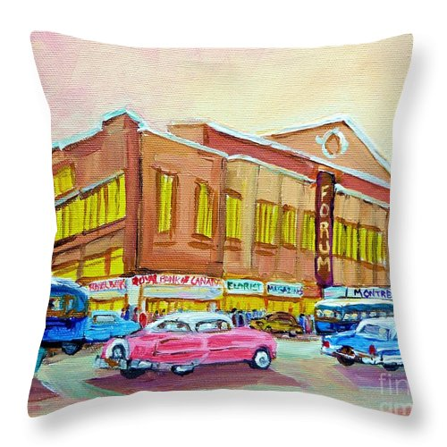 Montreal Throw Pillow featuring the painting The Montreal Forum by Carole Spandau