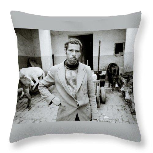 Farmer Throw Pillow featuring the photograph The Moroccan Farmer by Shaun Higson