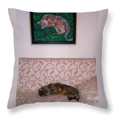 Cat Throw Pillow featuring the photograph The Muse And Her Portrait by Valerie Ornstein