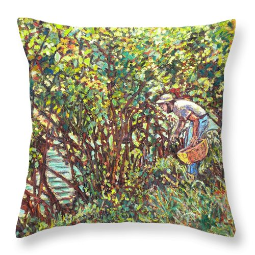 Landscape Throw Pillow featuring the painting The Mushroom Picker by Kendall Kessler