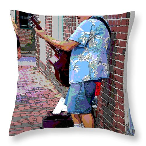 Music Throw Pillow featuring the photograph The Music Man And His Red Shoes by Suzanne Gaff