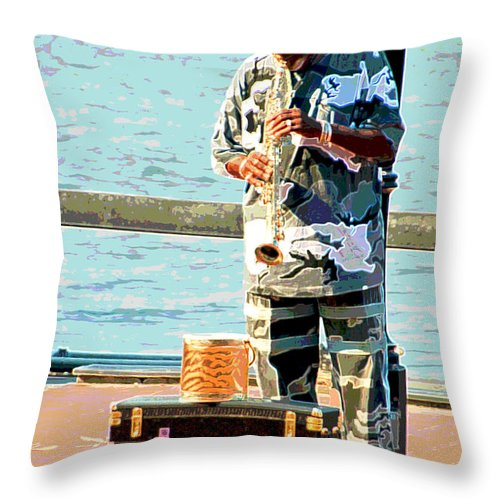 Soprano Saxophone Throw Pillow featuring the photograph The Music Man by Suzanne Gaff