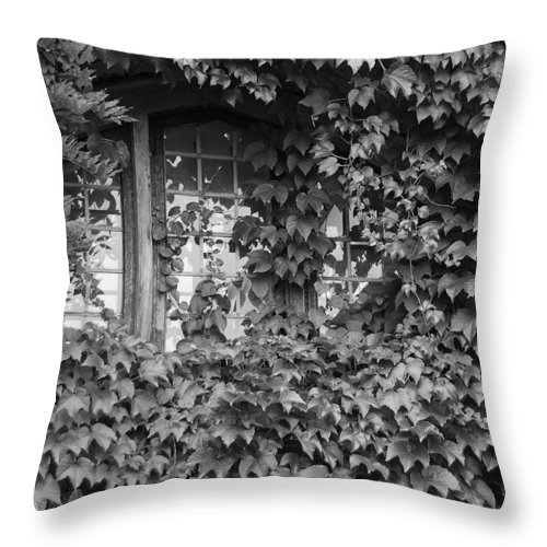 Hammond Castle Throw Pillow featuring the photograph The Mystery Within - Black And White by Suzanne Gaff