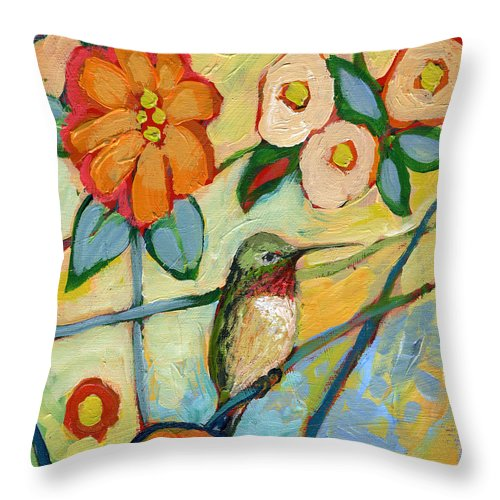 Hummingbird Throw Pillow featuring the painting The NeverEnding Story No 6 by Jennifer Lommers