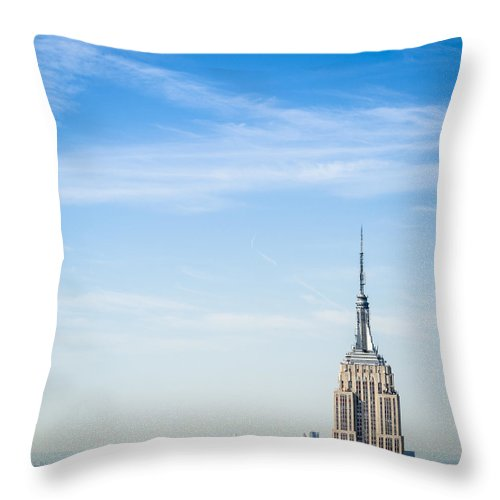 Lower Manhattan Throw Pillow featuring the photograph The New York City Empire State Building by Franckreporter