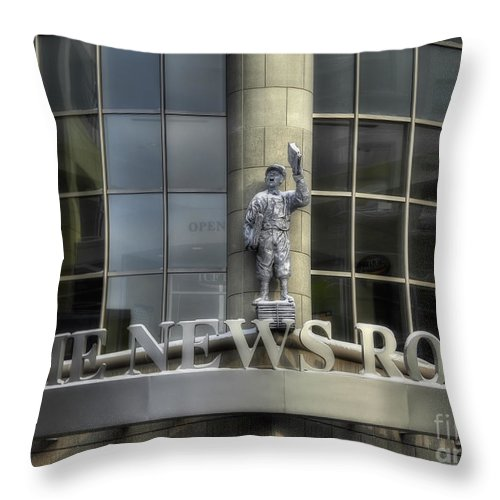 Newspaper Throw Pillow featuring the photograph The News Room by Trey Foerster