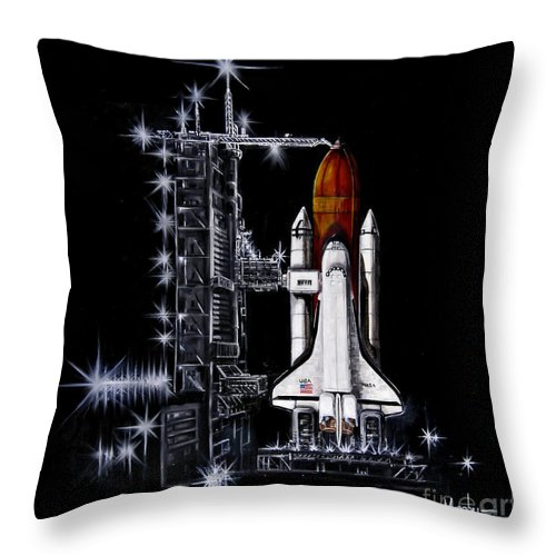 Shuttle Throw Pillow featuring the painting The Night Before by Murphy Elliott