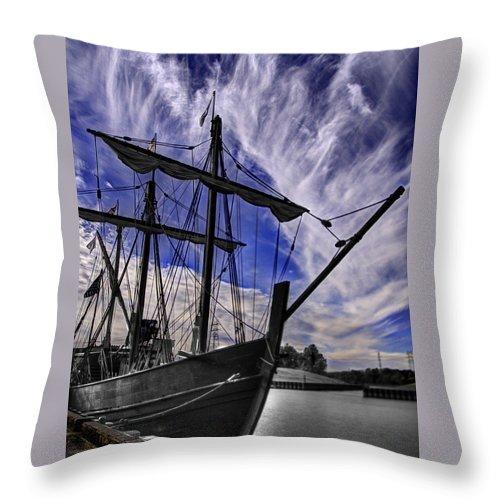 The Nina And Pinta Columbus Replica Ships V11 Throw Pillow
