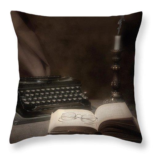 Antique Throw Pillow featuring the photograph The Novelist Still Life by Tom Mc Nemar