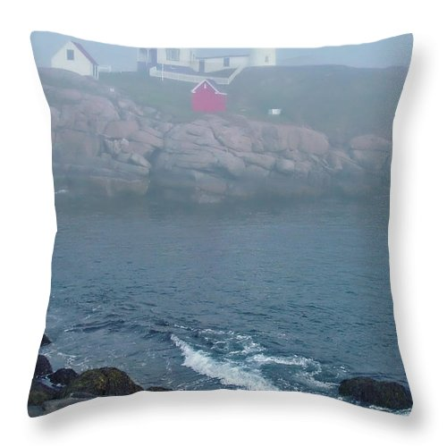 Nubble Lighthouse Throw Pillow featuring the photograph The Nubble Lighthouse At York Maine by Suzanne Gaff