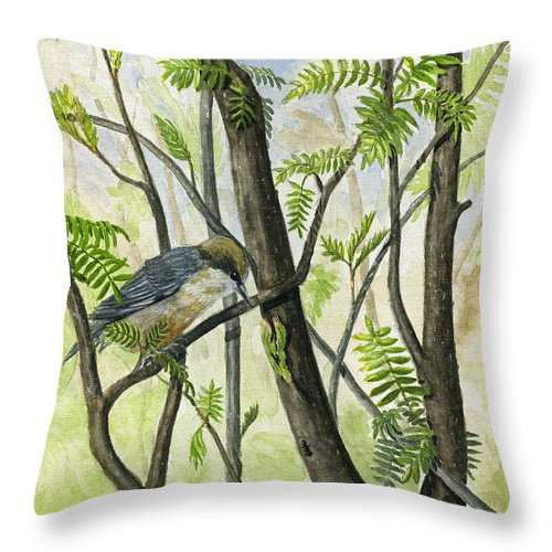 Bird Throw Pillow featuring the painting The Nuthatch by Mary Tuomi