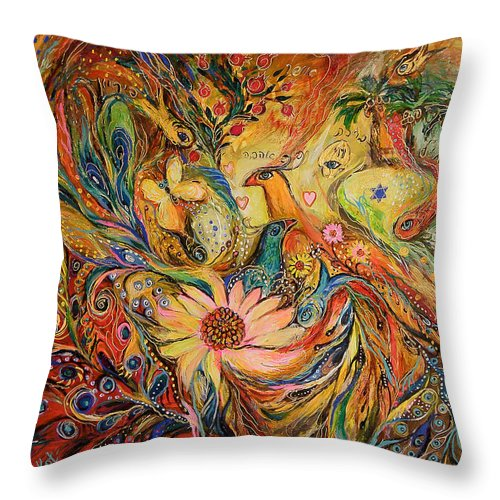 Original Throw Pillow featuring the painting The Oasis by Elena Kotliarker