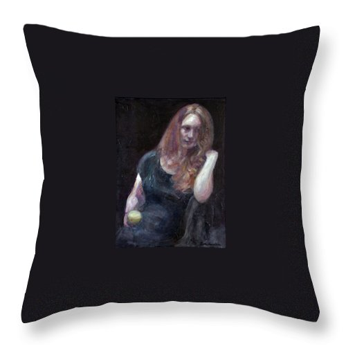 Portrait Throw Pillow featuring the painting The Offering - Sale On Original Painting - Framed by Quin Sweetman