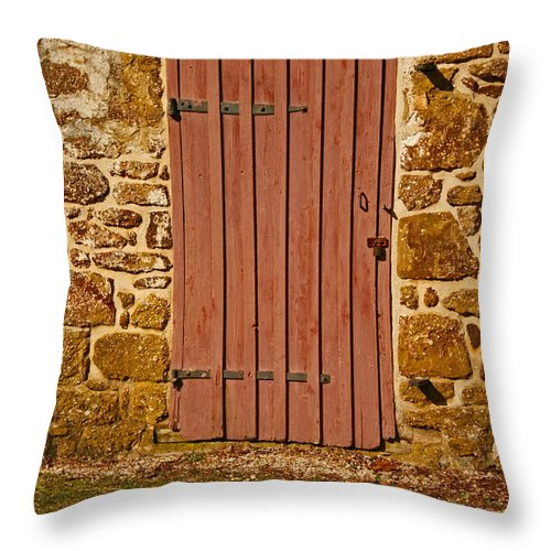 Old Throw Pillow featuring the photograph The Old Barn Door by Kristia Adams