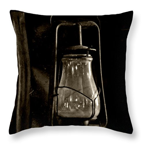 Barn Throw Pillow featuring the photograph The Old Barn Lantern by Heather Allen