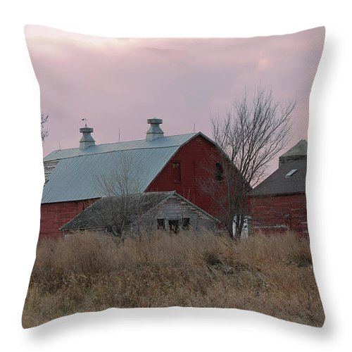 Barns Throw Pillow featuring the photograph The Old Barns by Lori Tordsen