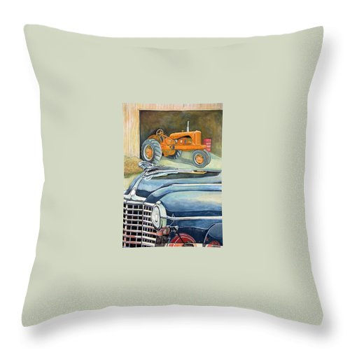 Rick Huotari Throw Pillow featuring the painting The Old Farm by Rick Huotari