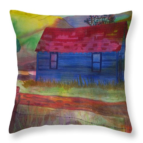 House Throw Pillow featuring the drawing The Old Farmhouse by Jennifer Schwab
