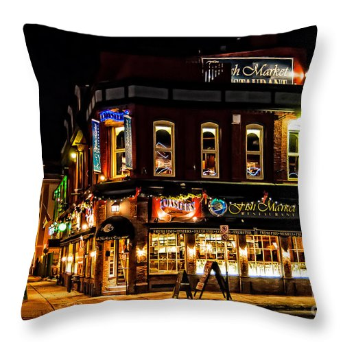 The Old Fish Market Throw Pillow featuring the photograph The Old Fish Market by Bianca Nadeau