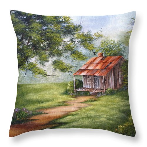 Oil Throw Pillow featuring the painting The Old Homestead by Ruth Bares