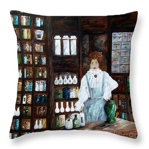 Apothecary Throw Pillow featuring the painting The Old Pharmacy ... Medicine In The Making by Eloise Schneider Mote