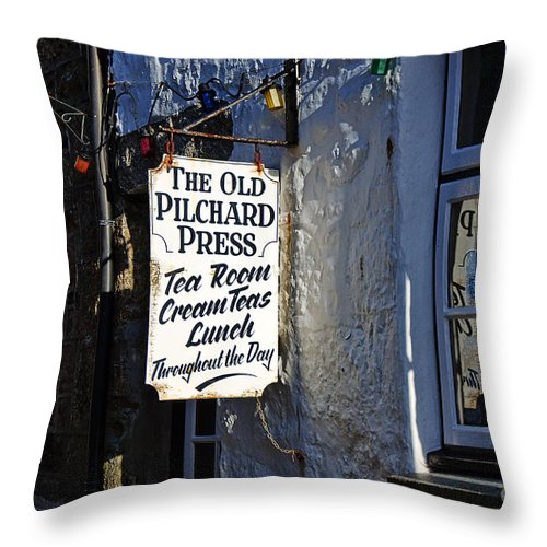 Mousehole Throw Pillow featuring the photograph The Old Pilchard Press by Susie Peek