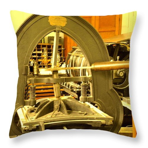Pioneer Throw Pillow featuring the photograph The Old Printing Press by Ian MacDonald