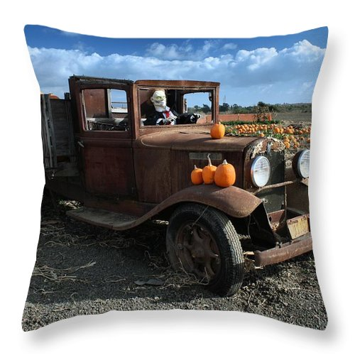 Antique Throw Pillow featuring the photograph The Old Pumpkin Patch by Michael Gordon
