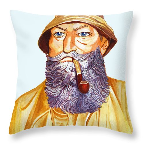 Sailor Throw Pillow featuring the painting The Old Sailor by Sean Molloy