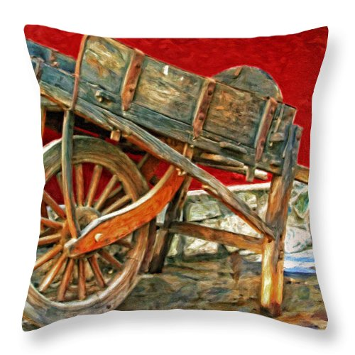 Wooden Wheelbarrow Throw Pillow featuring the painting The Old Wheelbarrow by Michael Pickett