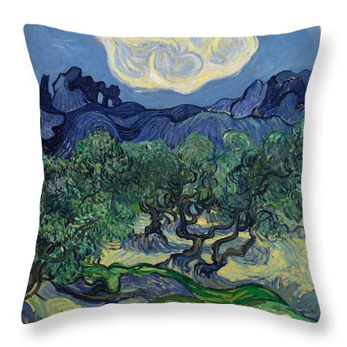 Vincent Van Gogh Throw Pillow featuring the painting The Olive Trees by Vincent van Gogh