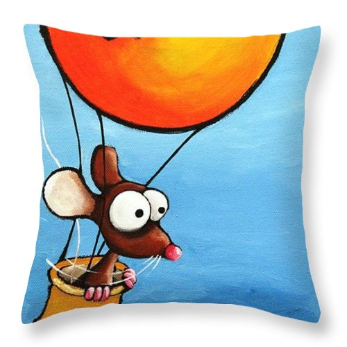 Lucia Stewart Throw Pillow featuring the painting The Orange Balloon by Lucia Stewart
