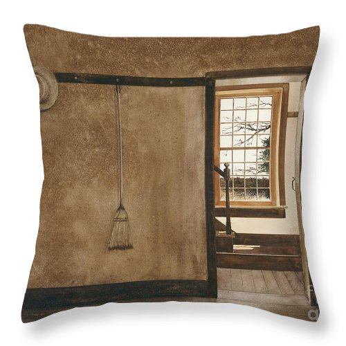 Looking Out A Window Of A Dwelling At The Hancock Shaker Village In Western Massachusetts. Throw Pillow featuring the painting The Outer Hall by Monte Toon