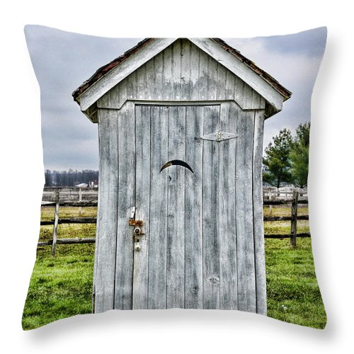 Outhouse Throw Pillow featuring the photograph The Outhouse - 2 by Paul Ward