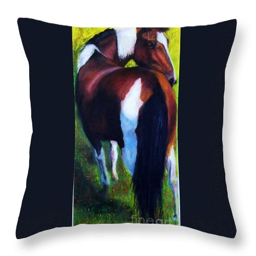 Horses Throw Pillow featuring the painting The Paint by Frances Marino