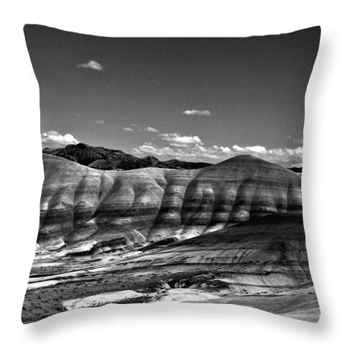 The Painted Hills Bw Throw Pillow featuring the photograph The Painted Hills Bw by Chalet Roome-Rigdon