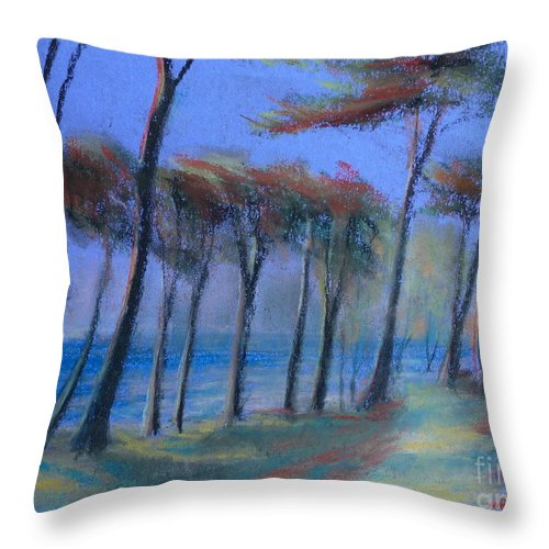 Landscape Throw Pillow featuring the painting The Path At Lands End by Pusita Gibbs