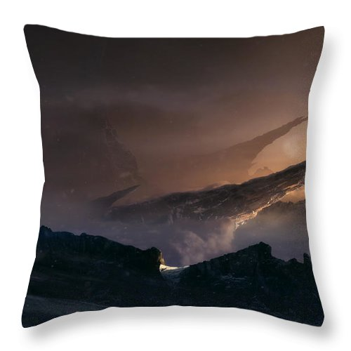 Mountains Throw Pillow featuring the digital art The Path by Tobias Roetsch