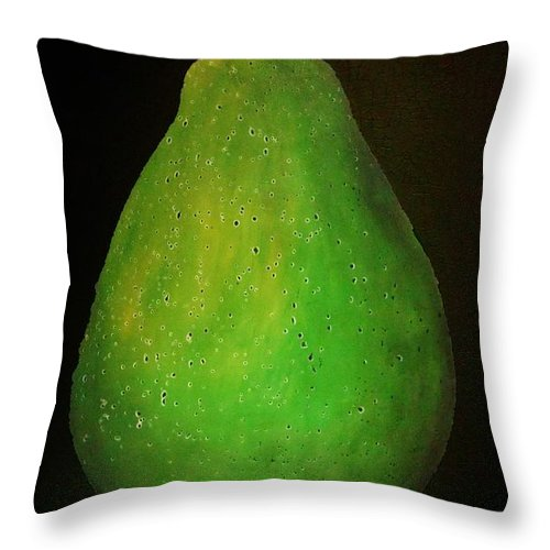 Stil Art Throw Pillow featuring the pastel Green Pear by Emil Bodourov