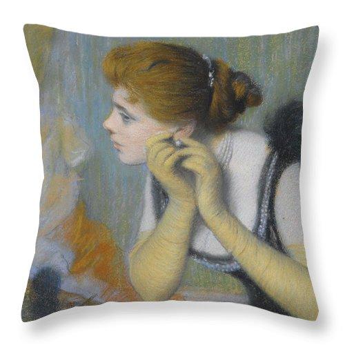 Federico Zandomeneghi Throw Pillow featuring the painting The Pearl by Federico Zandomeneghi
