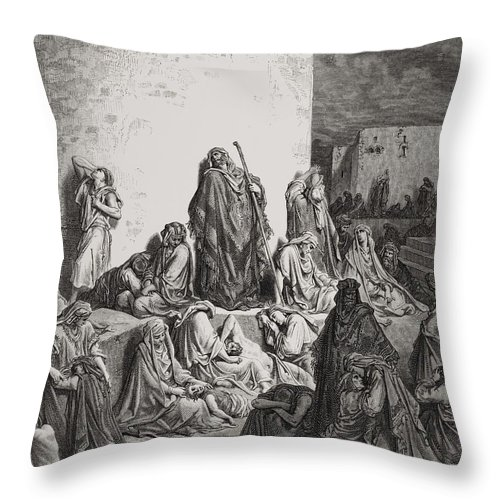 Wall Throw Pillow featuring the painting The People Mourning Over The Ruins Of Jerusalem by Gustave Dore