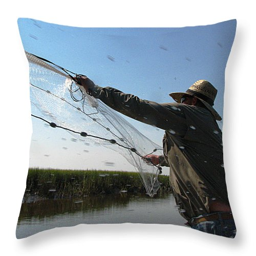 Castnet Throw Pillow featuring the photograph The Perfect Cast 2 by J M Farris Photography